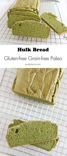 Flouress bread made with spinach and pumpkin seed butter. Hulk bread! Gluten free grain free dairy free yeast free bread. Great and fun recipe to serve at super bowl. Healthy snack.