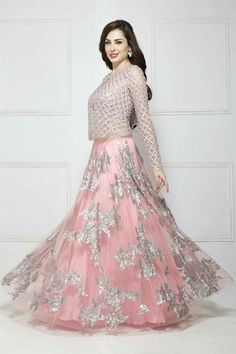 Light Dark Shades Formal Bridal Lehenga is available in so many different patterns and designs that you can never have enough of them below we have some nice designs for you. Indian Gowns Dresses, Pakistani Dresses, Indian Outfits, Lehnga Dress, Bridal Lehenga Choli, Kimono Dress, Lehenga Designs, Bridal Outfits, Bridal Dresses