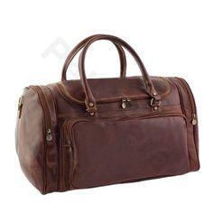 Borsa uomo donna da viaggio in pelle a mano e tracolla con manici borsone