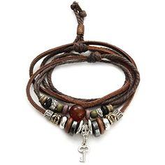 Joyería Collar 46cm hombre estilo Retro vintage, cordón de cuero marrón con colgante clave, Cadena Cuero Ajustable, Aleación, Color marrón (con bolsa de regalo) O.R.® (Old Rubin) http://www.amazon.es/dp/B00JGFFLZY/ref=cm_sw_r_pi_dp_08h2ub1QK5HRS