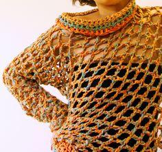 Poncho Una Manga / tejido a crochet, en algodón y seda