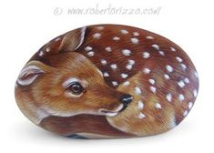 Sweet Fawn Painted on A Sea Stone Rock Painting Art by Pebble Painting, Pebble Art, Stone Painting, Painting Art, Painted Rock Animals, Hand Painted Rocks, Painted Stones, Art Rupestre, Owl Rocks