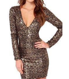 Gold Metallic Sequin Long Sleeve Bodycon Dress | #USTrendy  www.ustrendy.com