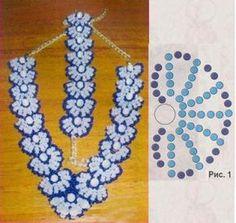 голубые украшения из бусин