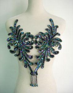 BD47-2 Fringed Bodice Sequin Bead Applique Motif Black Iris Dancewear BellyDance #etsy $22.00