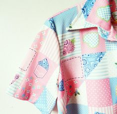 70s Vintage Pink Patchwork Blouse / Button Down Candy Pink Shirt / Hearts and Strawberries Quilted Novelty Shirt / New Old Stock