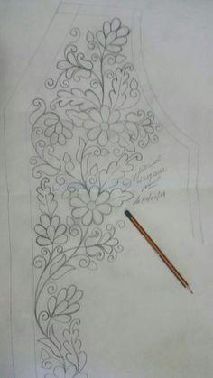 Elhoceine's media statistics and analytics Hand Embroidery Design Patterns, Hand Embroidery Dress, Embroidery Suits Design, Embroidery Flowers Pattern, Gold Embroidery, Textile Patterns, Flower Patterns, Embroidery Stitches, Bijoux Art Deco