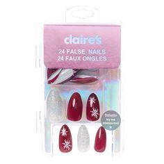 Burgundy Snowflake and Iridescent Glitter Stiletto False Nails