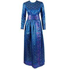 Preowned 1960's Oscar De La Renta Sapphire-blue Metallic Silk-brocade... ($1,200) ❤ liked on Polyvore featuring dresses, gowns, long dresses, vintage, multiple, vintage gowns, long sleeve gown, vintage floral dress and blue dress