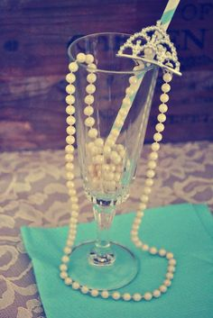 Pearls and tiaras at a Tiffany's party!  See more party ideas at CatchMyParty.com!  #partyideas #tiffanys