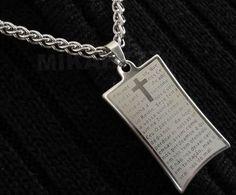 7e78d28efc2 Conjunto Masculino em Aço Inox - Corrente Grumet trançada + pingente com a  Oração Pai Nosso