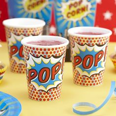 A pack of stylish Pop Art spotty paper cups with the word Pop in a splash on the side. Great for lots of special occasions from an adults 30th birthday party to a kids superhero themed party.Pack of 8 9oz cups which are 9.5 cm tall.