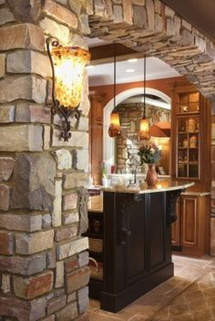 Stone Archway Framing Dark Wood Cabinet With Marble Counter Top.. Royalty Free Stock Photo, Pictures, Images And Stock Photography. Image 6427042.