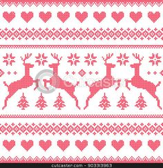 Winter, Christmas red seamless pixelated pattern with deer and hearts stock vector