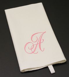 Single Word or Monogram Embroidered Cotton Tea Towel