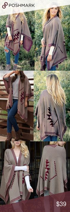 """The SHINTA knit poncho - MOCHA This knit poncho gives a tribal feel. Dimensions 55"""" x 41"""" fabric 100% acrylic. Available in NAVY & MOCHA.   NO TRADE, PRICE FIRM Bellanblue Sweaters Shrugs & Ponchos"""