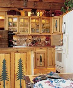 kitchen with pine trees Log Cabin Living, Log Cabin Homes, Log Cabins, Home And Living, Cabins For Sale, Cabins And Cottages, Rustic Kitchen Design, Rustic Farmhouse Decor, Cabin Decorating