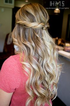 half up twisted curls. Add thickness and length to your hair style with hair extensions.