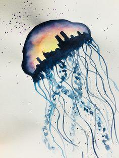 Jellyfish city, watercolor painting Watercolor Tattoo, Watercolor Paintings, Watercolor Ideas, Pink Jellyfish, Alien Creatures, My Drawings, Design, Drawings, Art