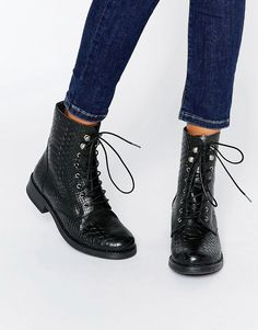 dd90486f6b8 Pieces Ibi Croc Print Leather Lace Up Worker Boots at asos.com