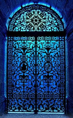 Aren't these doors stunning? I love the otherworldly feel of the blue light coming through the lacy patterns....