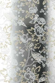Anna French Wallpapers, Wild Flora, Songbirds Cream/ White Foil