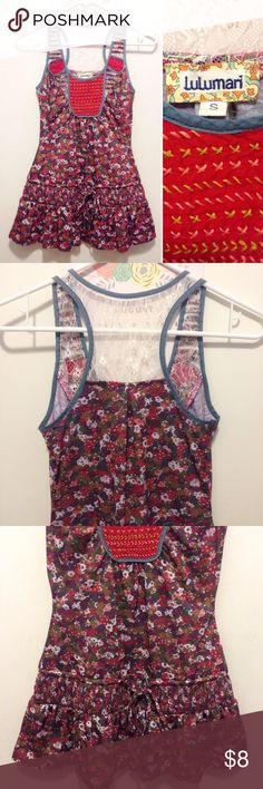 """Lulumari boho floral tunic •Size juniors S (XS bust 32AB) •Excellent condition w/ no flaws • 100% polyester  •Multicolored floral pattern with lace & embroidery detail. Periwinkle blue trim & drawstring tie at the bottom. Purchased from a lovely Posher but bust area is just too snug for my liking (I'm usually a 34B). Wish I could keep this - it's SO unique & adorable!  🏷Measurements: Length of entire top is 27.5""""/ Bust is 12.5"""" flat across/ Waist (middle of garment) is 13"""" across/ Hip…"""