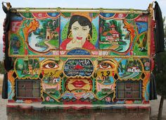 Colorful rear view of Afghan Jingle Truck with Bollywood star (from India). by violinsoldier, via Flickr