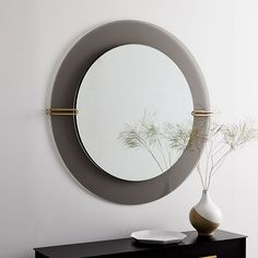Subtle yet elegant, the Dapper Glass Wall Mirror will attract the attention of anyone in the room. It overlaps smoke-finished and mirrored glass layers to create a multidimensional piece that doubles as a unique work of art. Decor, Mirror Wall Art, Floor Mirror, Metal Walls, Mirror Interior, Glass, Glass Wall, Mirror Wall, Mirror