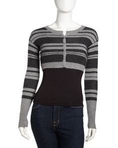 Striped Cropped Cashmere Cardigan, Granite/Charcoal by Qi Cashmere at Last Call by Neiman Marcus.