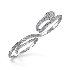 Bling Jewelry CZ Thin Modern Two Finger Animal Snake Ring 925 Sterling Silver
