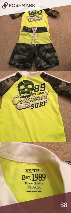 Boys neon yellow and camo swim set Fun and bright swim set! Worn only a few times! XS (4). Children's Place Swim
