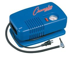 Champion Sports Deluxe Electric Inflating Air Pump by Champion Sports. $54.54. The Champion Sports Deluxe Electric Inflating Air Pump is a heavyweight professional deluxe inflator that will suit all of your ball inflation needs. This deluxe air pump features a whisper quiet 1/4 HP diaphragm compressor that delivers up to 50 PSI. It is powered by an 8ft three prong 20 volt electric power cord and an on/off switch. Helpful features include a pressure gauge, needle, and hose. The D...