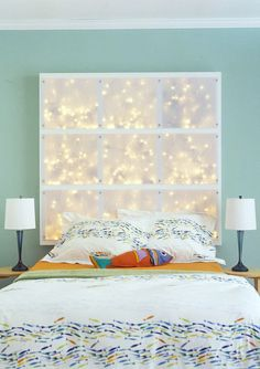 Make a romantic mood to your bedroom with ambient string lights http://www.handimania.com/craftspiration/string-lights-ideas-for-your-bedroom.html