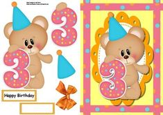 "Happy 3rd Birthday Bear Polka Dot on Craftsuprint designed by Amy Perry - Happy 3rd Birthday Bear Polka Dot in lovely matching polka dot frame on scalloped frame also has decoupage and choice of tag ""Happy Birthday"" and a blank tag for your own sentiment - Now available for download!"
