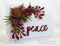 Craft-a-Board Peace, Pine and Pinecones by Kittie Caracciolo   Essentials by Ellen Julie's Poinsettia and Pine set create an evergreen arrangement to embellish the Peace sentiment.