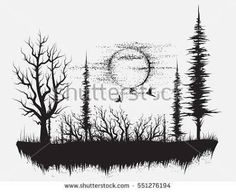 Find Strange Forestsilhouetteof Trees Hand Drawn Vector stock images in HD and millions of other royalty-free stock photos, illustrations and vectors in the Shutterstock collection. Thousands of new, high-quality pictures added every day. Silhouette Tattoos, Tree Tattoo Designs, Design Tattoo, Wald Tattoo, Forest Silhouette, Natur Tattoos, Tattoo Templates, Forest Tattoos, Desenho Tattoo