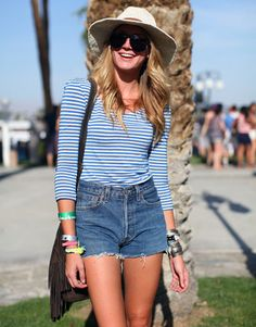 stripes, fringe and high waisted shorts...love all of the Bardot-esque look
