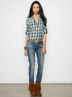 Featuring a cool allover gingham pattern this lightweight cotton flannel shirt is designed with shirring at the back and a loosefitting silhouette. #Fashion  #Clothing
