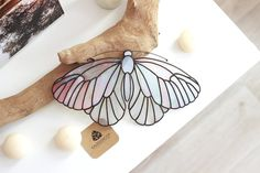 Your place to buy and sell all things handmade Glass Butterfly, White Butterfly, Stained Glass Projects, Stained Glass Patterns, Stained Glass Panels, Stained Glass Art, Colchas Quilt, Spectrum Glass, Glass Material