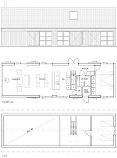 The house Alsen plan Prefab Homes, Modular Homes, Cabin Homes, Modern Small House Design, Modern Barn House, Barn Style House Plans, House Floor Plans, Casa Patio, Long House