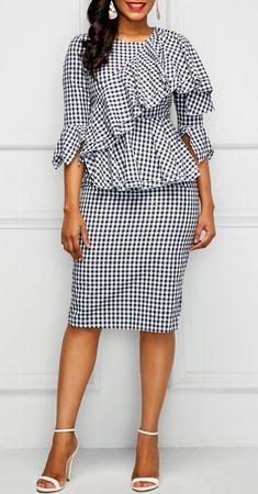 Round Neck Flounce Plaid Print Dress