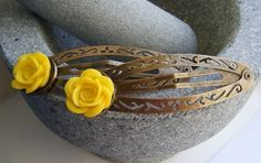 YELLOW FLOWER large antiqued bronze hair clip £4.00