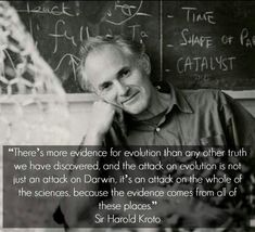 """There more evidence for evolution that any other truth we have discovered, and the attack on evolution is not just an attack on Darwin, it's an attack on the whole of the sciences, because the evidence comes from all of these places."" –Sir Harold Kroto"