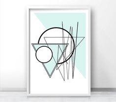Digital Download Art, Wall Art Printable, Abstract Geometric Art Print, Mint Green Decor, Instant Download Printable Art, Abstract Art Print