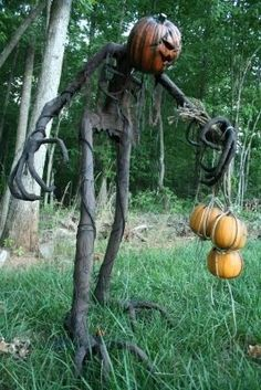Here is a very cool Halloween house or yard decorations very much reminiscent of Jack the Pumpkin King when he goes out on Halloween to scare. I love the pumpkin face on this one!  #Halloween #halloweendecorations #hauntedhouse #jack #pumpkinking #nightmarebeforechristmas #jackskelington #statue #haunted