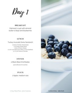 Day 1 of 7-Day Meal Plan, 1200 Calories from dietitian Samantha Shuflin. Includes grocery list and substitutions.