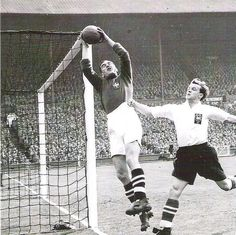 West Brom 3 Preston NE 2 in May 1954 at Wembley. Albion keeper Jim Sanders takes no chances in the FA Cup Final.