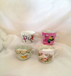 vintage Moustache Cups - Instant Collection of 4 - Roses  Daisies Morning Glories - Tea Cups Coffee Mugs