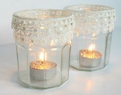 Lace Tea Light Holders   19 DIY Projects That Will Make Your Home So Much More Cozy